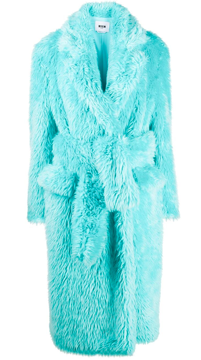 MSGM belted faux-fur coat