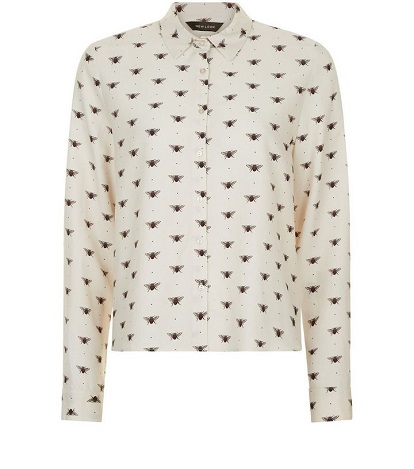 White Bee Print Cropped Shirt