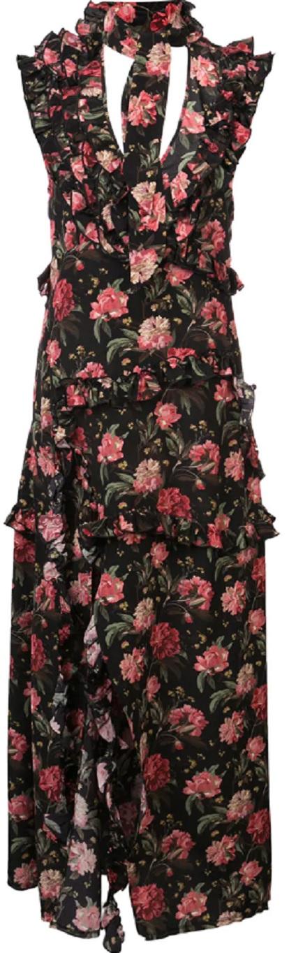 R13 floral cut out maxi dress
