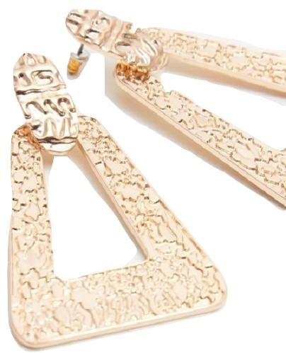 GOLD TEXTURED TRIANGLE DROP EARRINGS