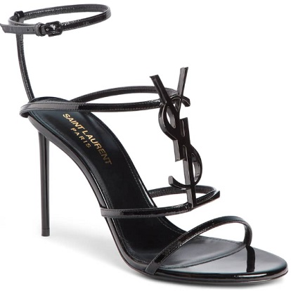 Cassandra YSL Logo Sandal, Main, color, BLACK