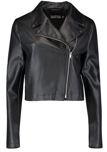 Croc Effect Pu Biker Jacket