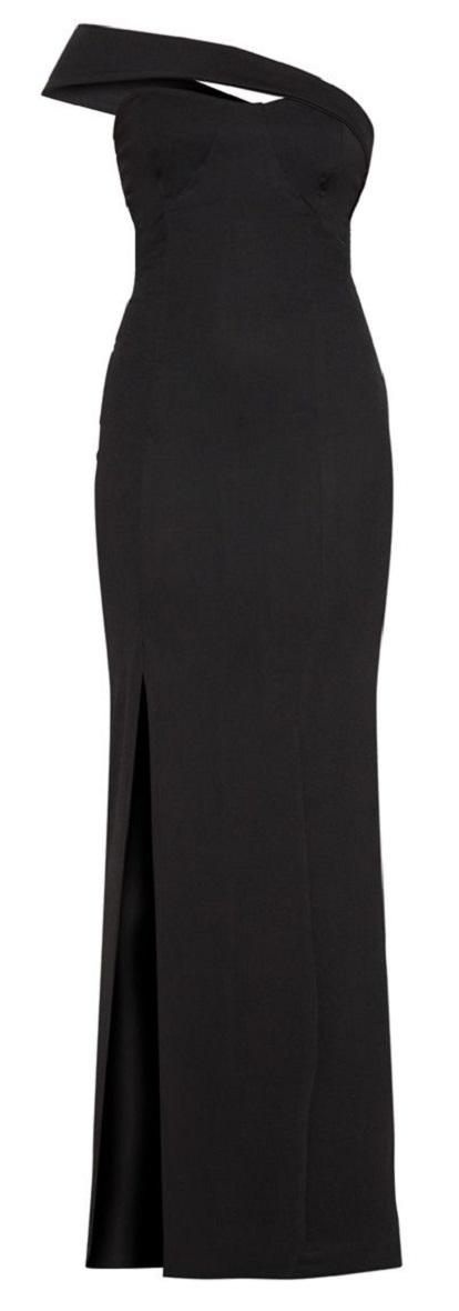 BLACK CROSS STRAP DETAIL MAXI DRESS