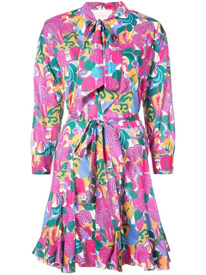 LA DOUBLEJ floral tie neck mini dress