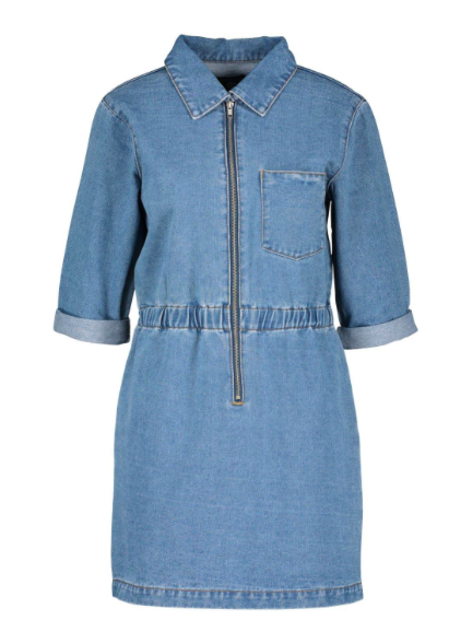 Zip Up Denim Dress