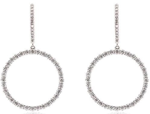 ROSA DE LA CRUZ 18k White Gold Diamond Circle Earrings