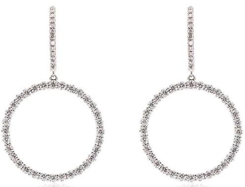 ROSA DE LA CRUZ 18k White Gold Diamond Circle Earrings