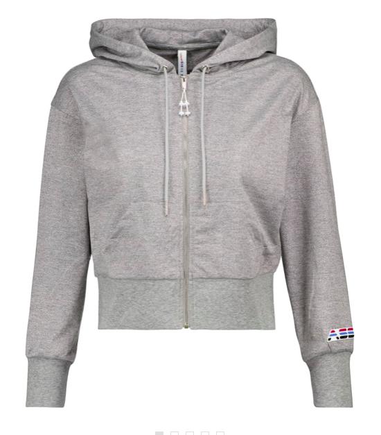 Cropped metallic jersey hoodie