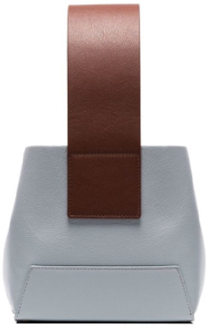 YUZEFI Blue and Brown Tab leather bucket bag