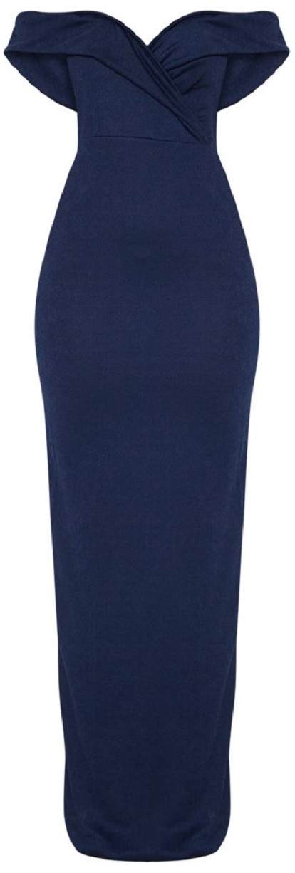 NAVY BARDOT FOLD DETAIL EXTREME SPLIT MAXI DRESS