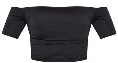 Shape Black Slinky Ruched Bardot Short Sleeve Crop Top