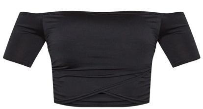 Shape Black Slinky Ruched Bardot Short Sleeve Crop Top