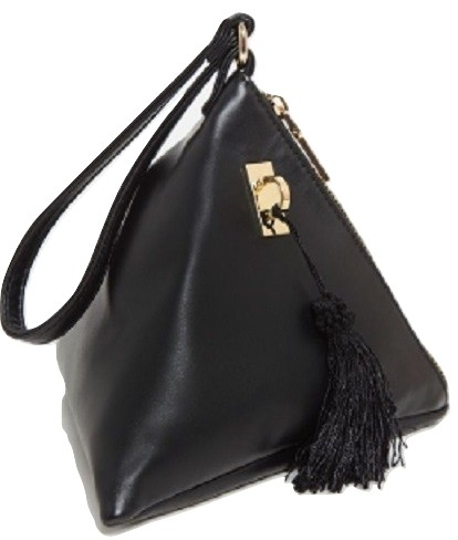 BLACK PU TRIANGLE MINI BAG