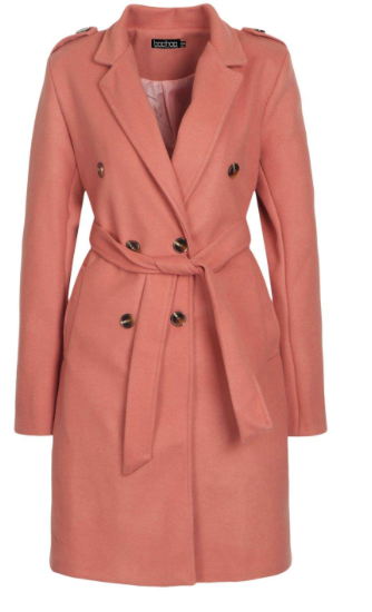 Tall Belted Wool Look Coat