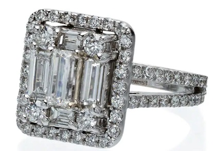 MINDI MOND metallic silver 2.4 carat round and emerald cut diamonds 18k Gold split-shank diamond band