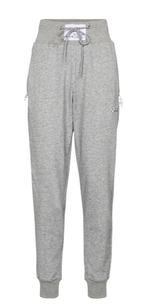 High-rise cotton-blend trackpants