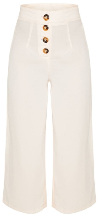 CREAM BUTTON DETAIL CULOTTES