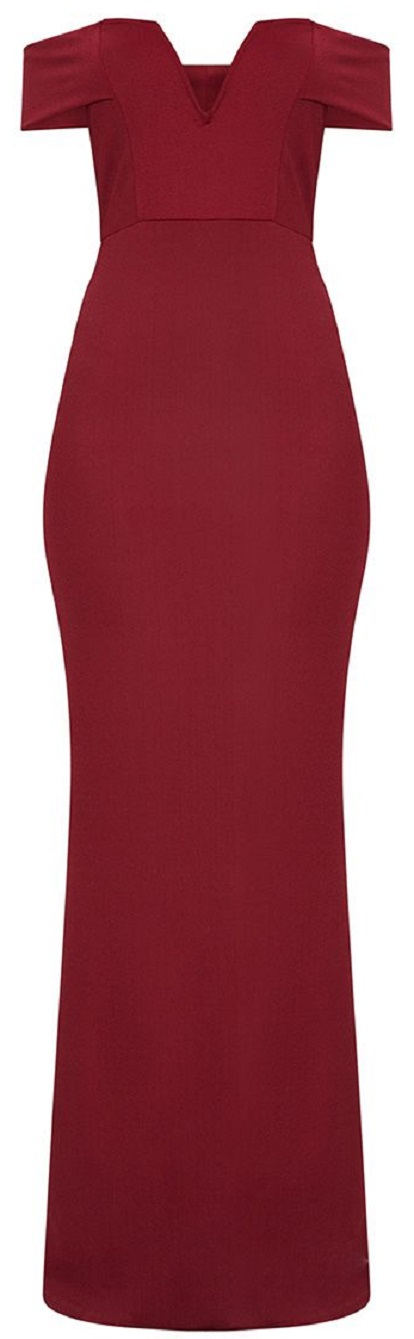 BURGUNDY BARDOT V PLUNGE MAXI DRESS