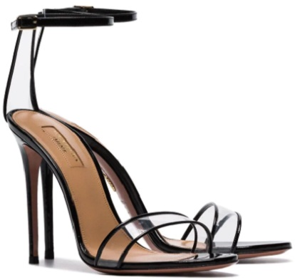 AQUAZZURA black minimalist 105 patent PVC pumps