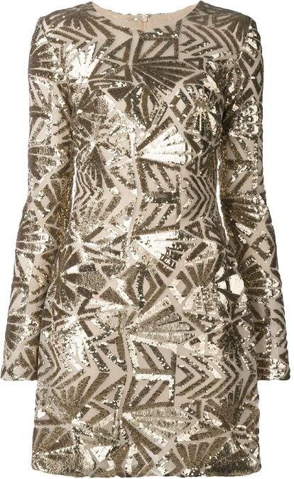P.A.R.O.S.H. sequin embroidered shift dress