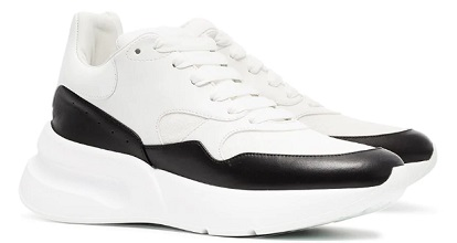 ALEXANDER MCQUEEN black and white Oversized Runner leather sneakers