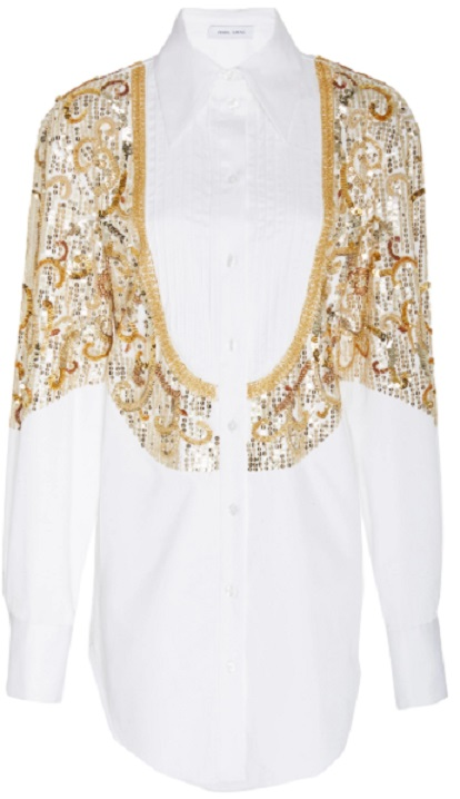 Click Product to Zoom Prabal Gurung Sitapur Sequin-Embellished Cotton Button-Down Top