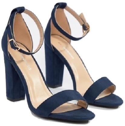 Glamorous barely there navy block heeled sandals