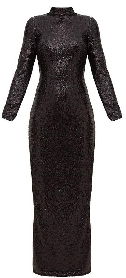 BLACK SEQUIN HIGH NECK LONG SLEEVE MAXI DRESS