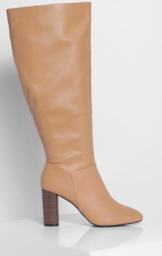 Wide Width Block Heel Knee Boots