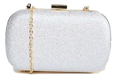 True Decadance Silver Glitter Box Clutch Bag