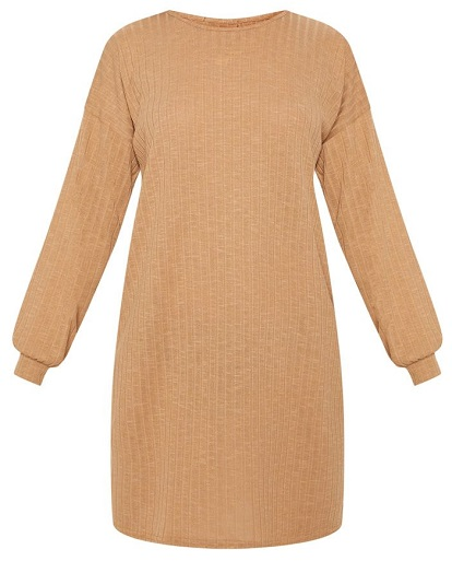 CAMEL WIDE RIBBED OVERSIZED JUMPER DRESS