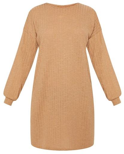 CAMEL WIDE RIBBED OVERSIZED JUMPER DRESS