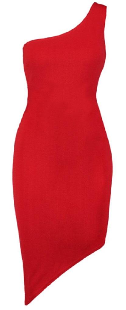 Petite One Shoulder Asymmetric Bodycon Dress