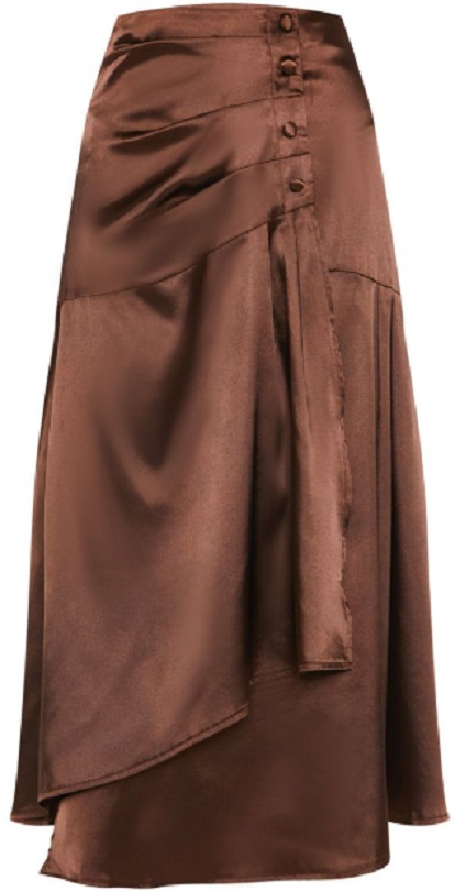 CHOCOLATE SATIN BUTTON WAIST MIDI SKIRT