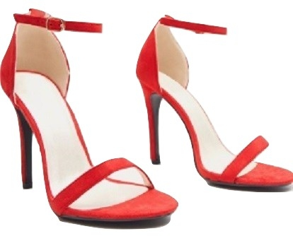 CLOVER RED STRAP HEELED SANDALS