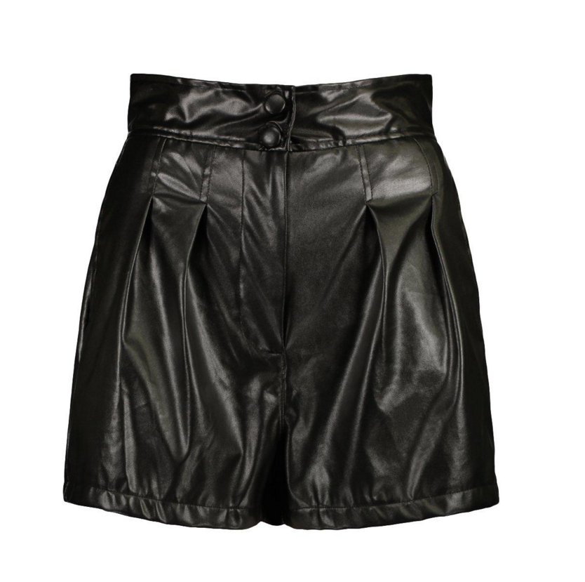PU Faux Leather Button Up Pleat Front Shorts