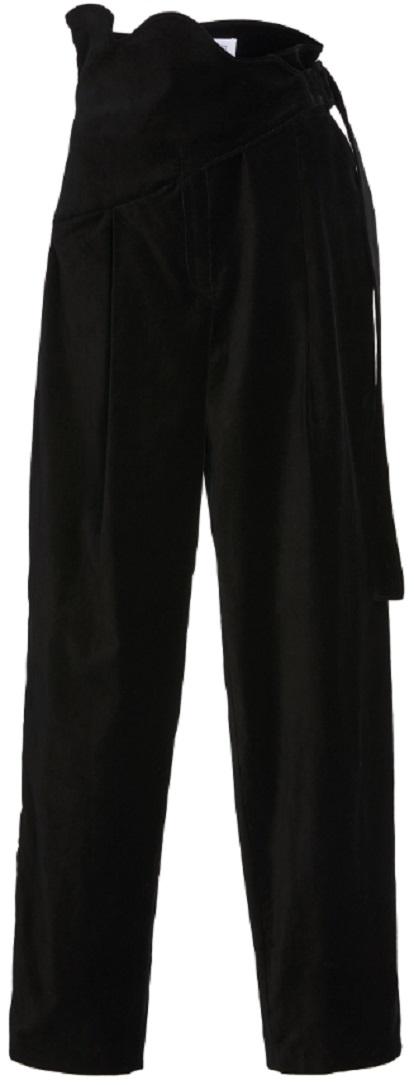 Rosie Assoulin High-Waist Velvet Scallop Pants