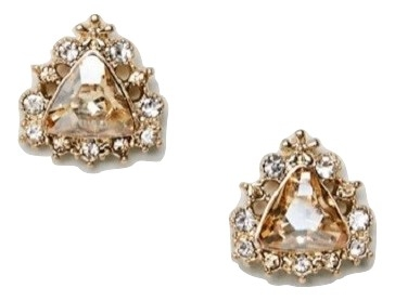 ASOS DESIGN stud earrings with crystal in gold