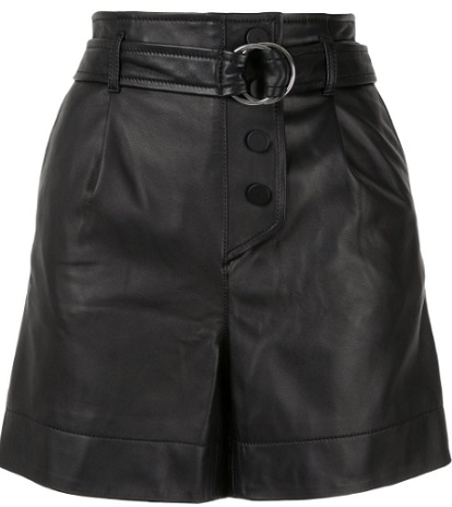 YVES SALOMON belted leather shorts