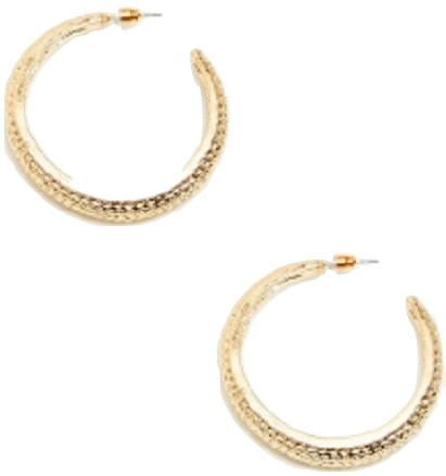 GOLD TEXTURED C SHAPE DROP EARRINGS