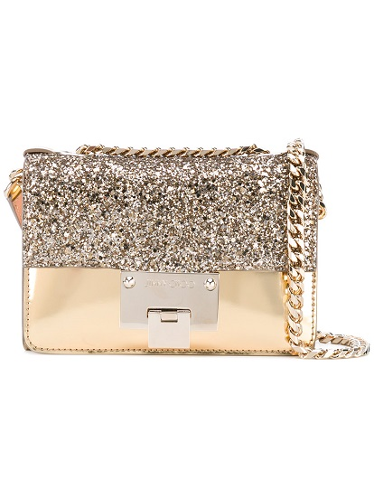JIMMY CHOO glittered mini Rebel bag