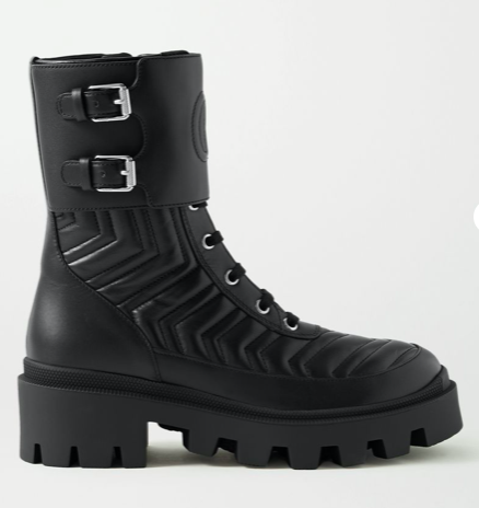 Frances logo-embossed quilted leather ankle boots