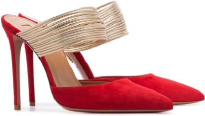 AQUAZZURA red new rendezvous 105 suede leather mules