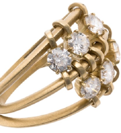 JADE TRAU yellow gold penelope 3 band diamond ring
