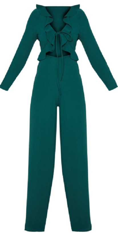 PETITE EMERALD GREEN LONG SLEEVE FRILL TIE FRONT JUMPSUIT