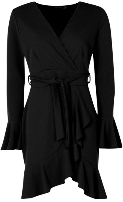 Frill Sleeve Tie Waist Ruffle Hem Tea Dress