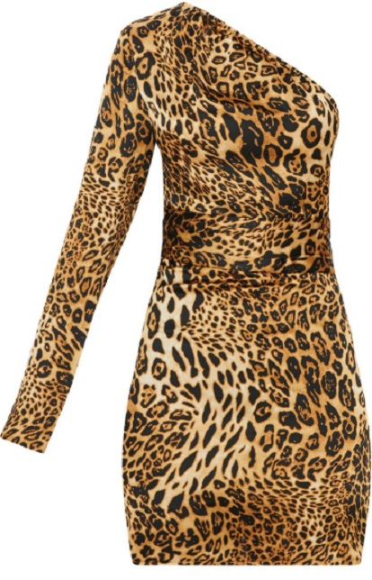 TAN SATIN LEOPARD PRINT ONE SHOULDER BODYCON DRESS