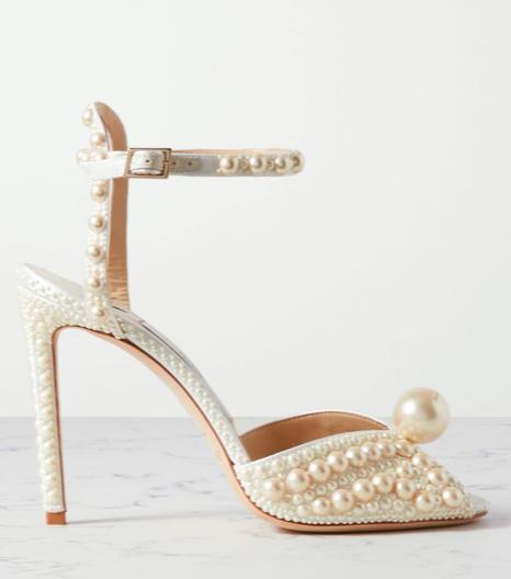 Sacora 100 faux pearl-embellished satin sandals