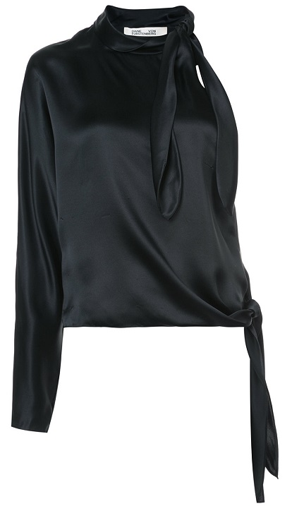 DVF DIANE VON FURSTENBERG One shoulder knotted blouse