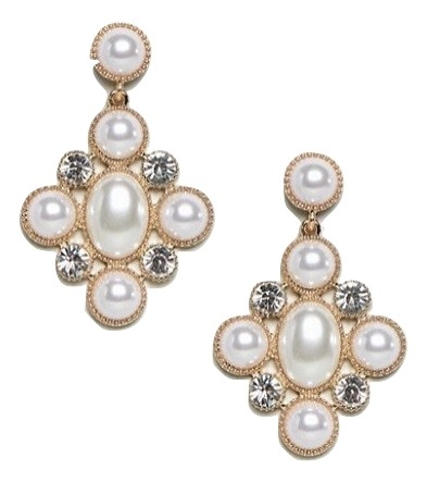 ASOS DESIGN earrings in cross shape with pearls and crystals in gold